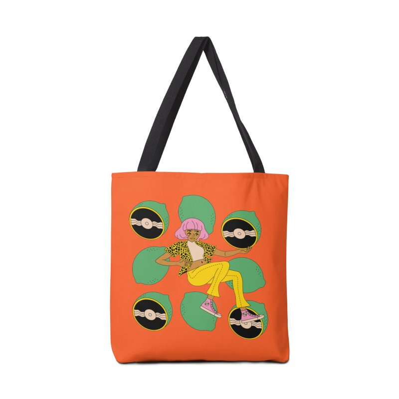 Lime Vinyl Accessories Bag by Cat Barrera Art