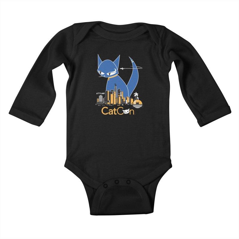 CatCon Kittyland Skyline Kids Baby Longsleeve Bodysuit by CatCon's Artist Shop
