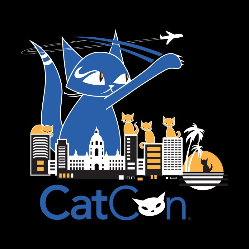 CatCon Purr-sadena Skyline Men's T-Shirt by CatCon's Artist Shop