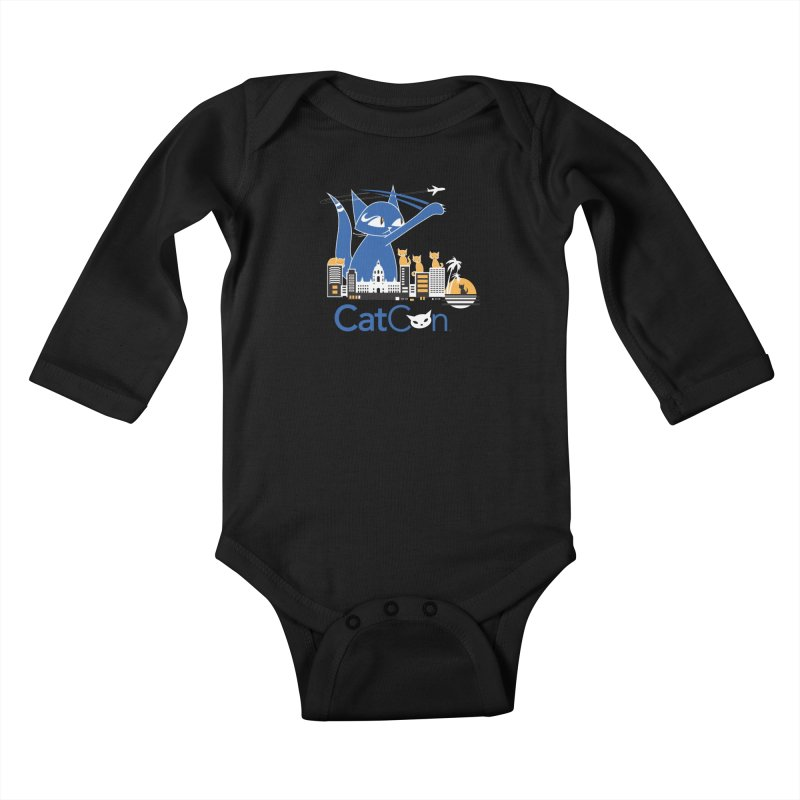 CatCon Purr-sadena Skyline Kids Baby Longsleeve Bodysuit by CatCon's Artist Shop