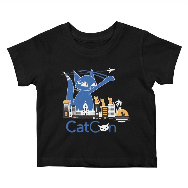 CatCon Purr-sadena Skyline Kids Baby T-Shirt by CatCon's Artist Shop
