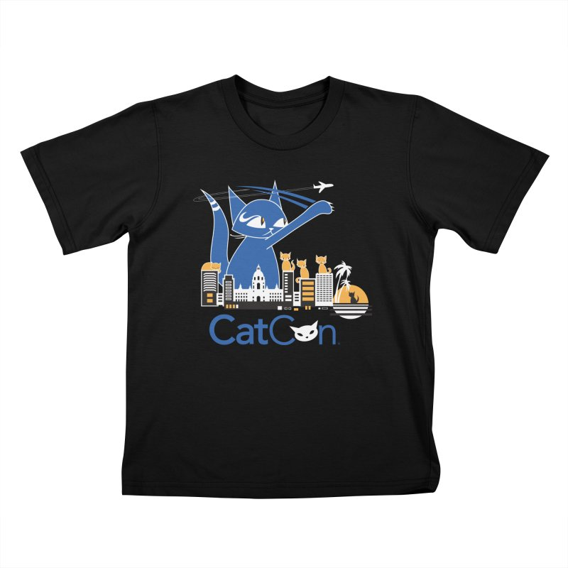 CatCon Purr-sadena Skyline Kids T-Shirt by CatCon's Artist Shop