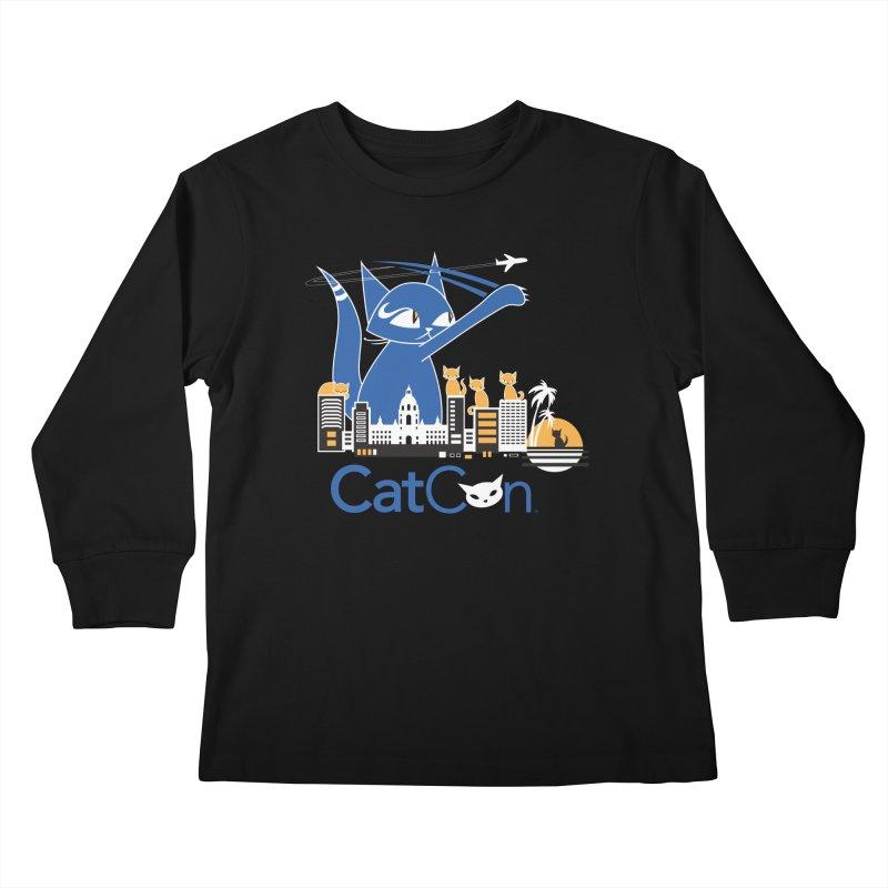 CatCon Purr-sadena Skyline Kids Longsleeve T-Shirt by CatCon's Artist Shop
