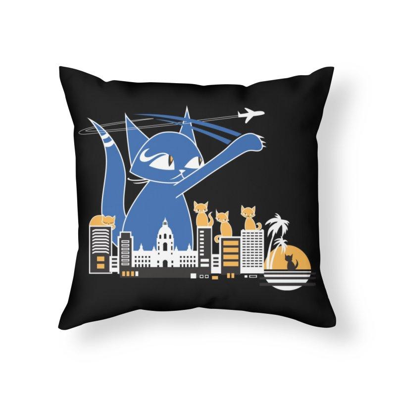 CatCon Purr-sadena Skyline Home Throw Pillow by CatCon's Artist Shop