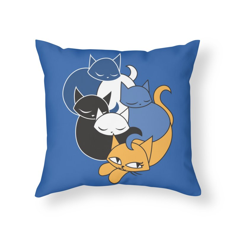 CatCon Five Cats Home Throw Pillow by CatCon's Artist Shop