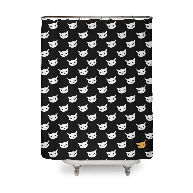 CatCon Pattern on Black Home Shower Curtain by CatCon's Artist Shop