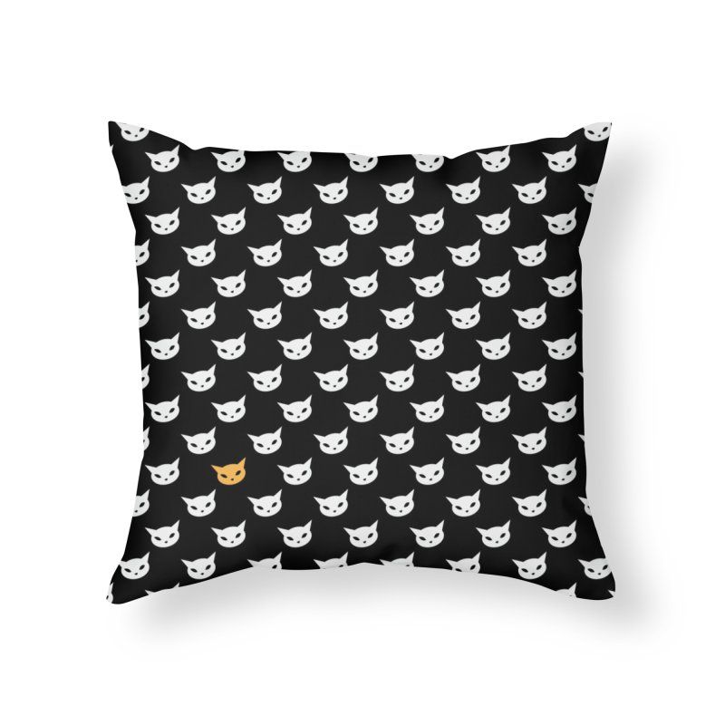 CatCon Pattern on Black Home Throw Pillow by CatCon's Artist Shop