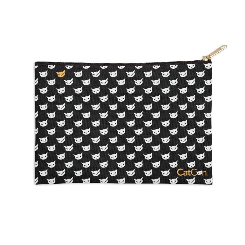 CatCon Pattern on Black Accessories Zip Pouch by CatCon's Artist Shop