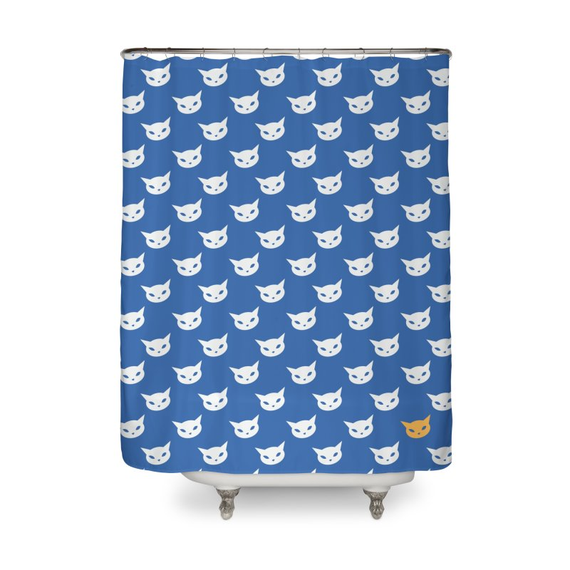 CatCon Pattern on Blue Home Shower Curtain by CatCon's Artist Shop