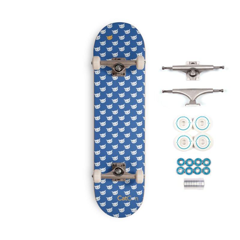 CatCon Pattern on Blue Accessories Skateboard by CatCon's Artist Shop
