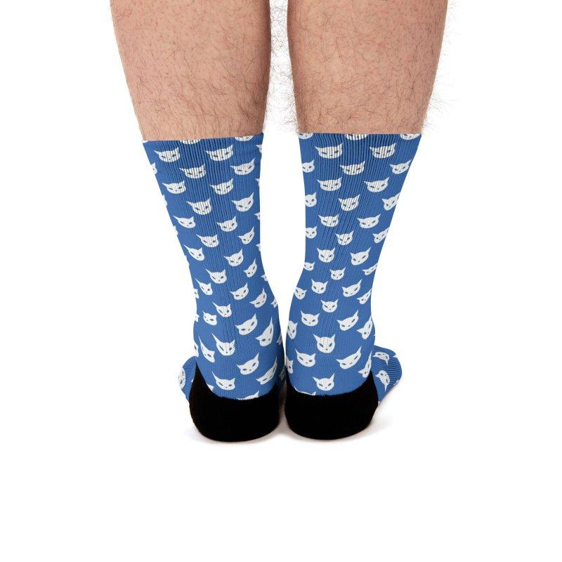 CatCon Pattern on Blue Men's Socks by CatCon's Artist Shop