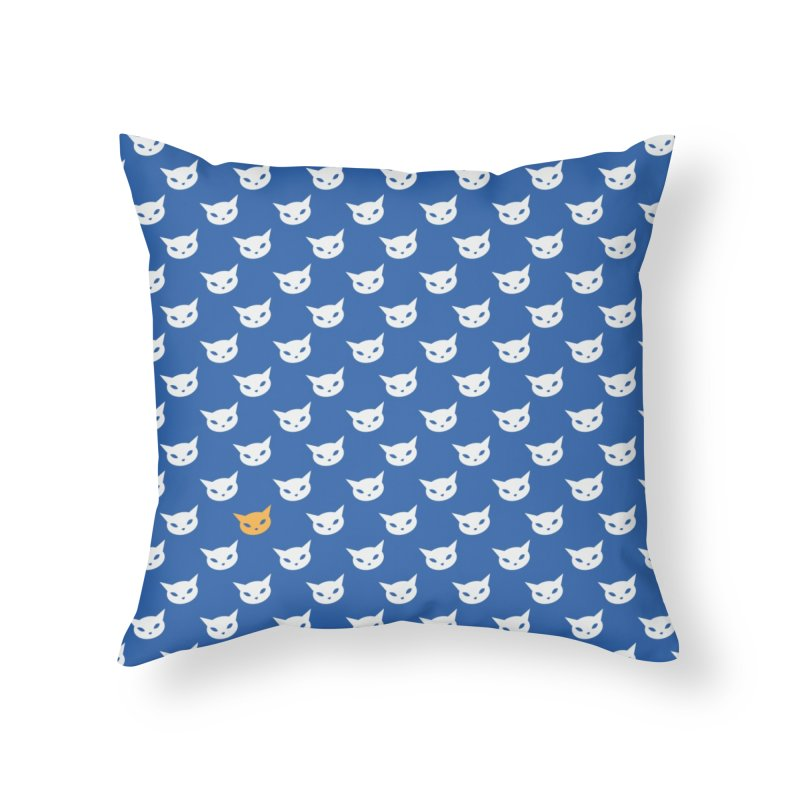 CatCon Pattern on Blue Home Throw Pillow by CatCon's Artist Shop