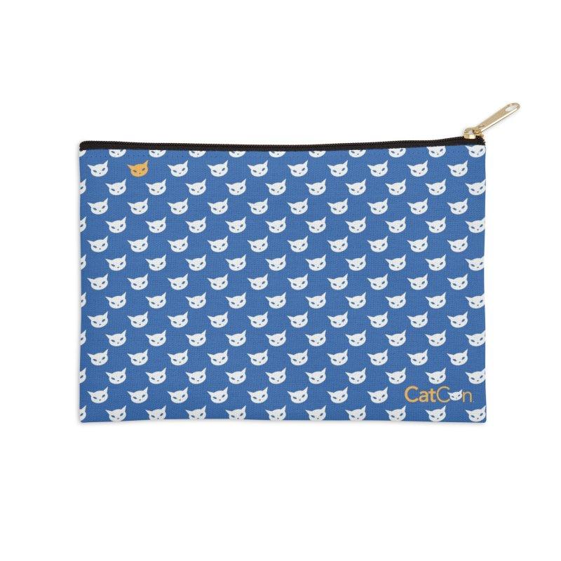 CatCon Pattern on Blue Accessories Zip Pouch by CatCon's Artist Shop