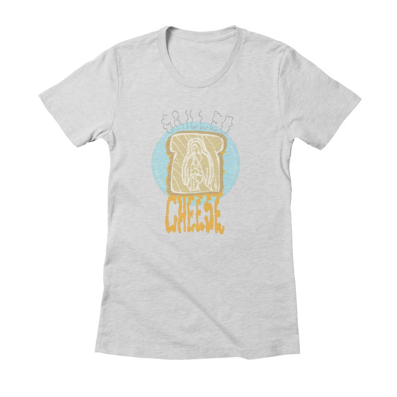 Holy Cheese in Women's Fitted T-Shirt Heather Grey by Food & Stuffs