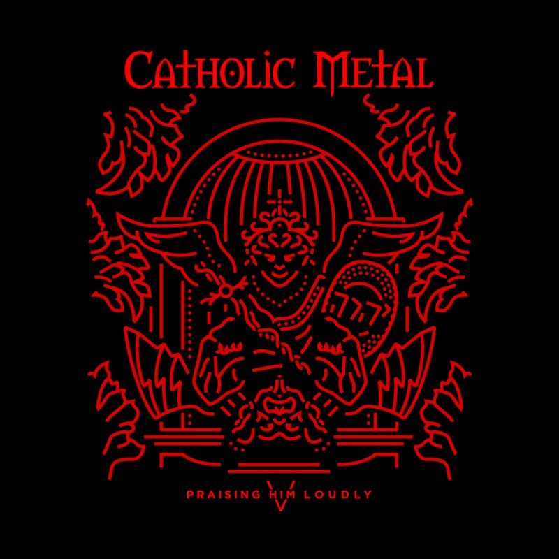PHL 5: St Micheal Defeating Satan Line Art (Red) Men's Longsleeve T-Shirt by Catholic Metal Merch