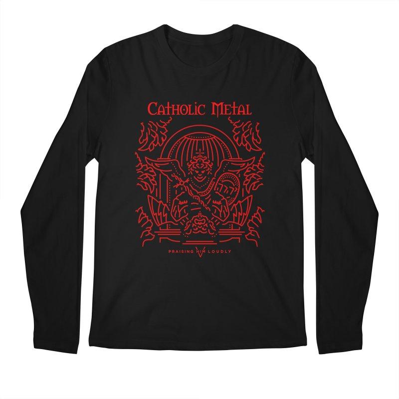PHL 5: St Micheal Defeating Satan Line Art (Red) Men's Longsleeve T-Shirt by Catholic Metal Merch