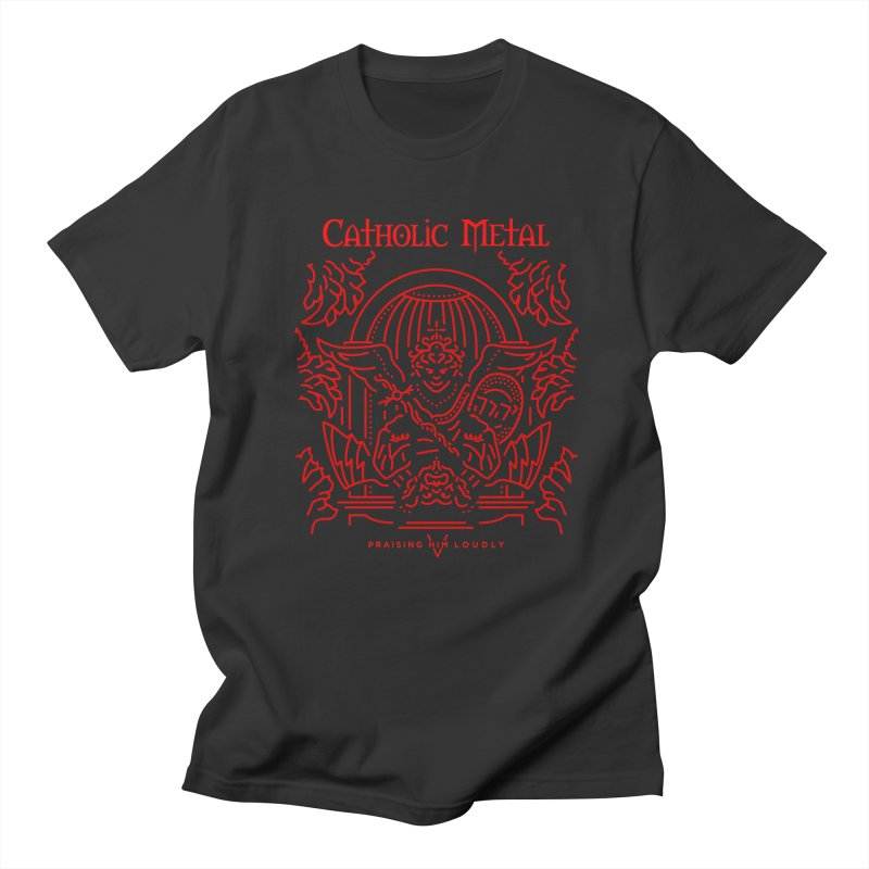 PHL 5: St Micheal Defeating Satan Line Art (Red) Men's T-Shirt by Catholic Metal Merch