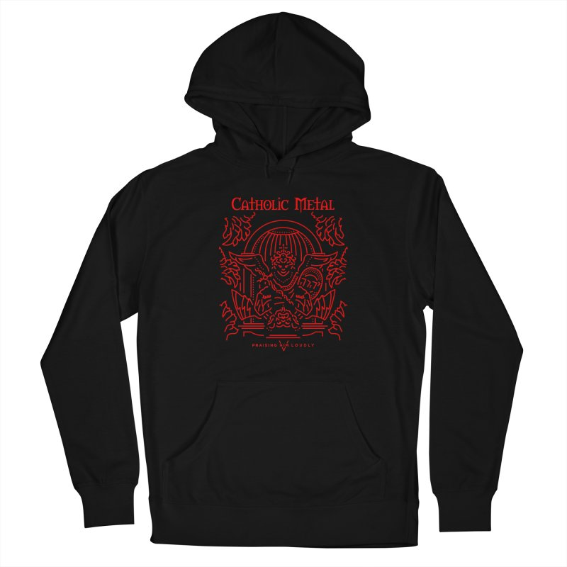 PHL 5: St Micheal Defeating Satan Line Art (Red) Men's Pullover Hoody by Catholic Metal Merch