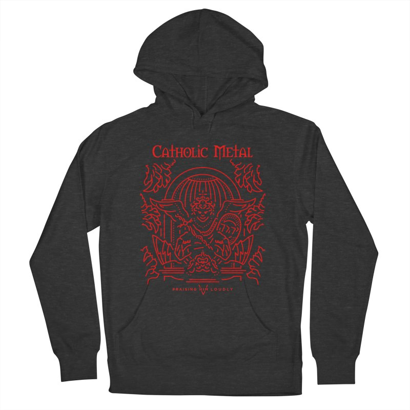 PHL 5: St Micheal Defeating Satan Line Art (Red) Women's Pullover Hoody by Catholic Metal Merch