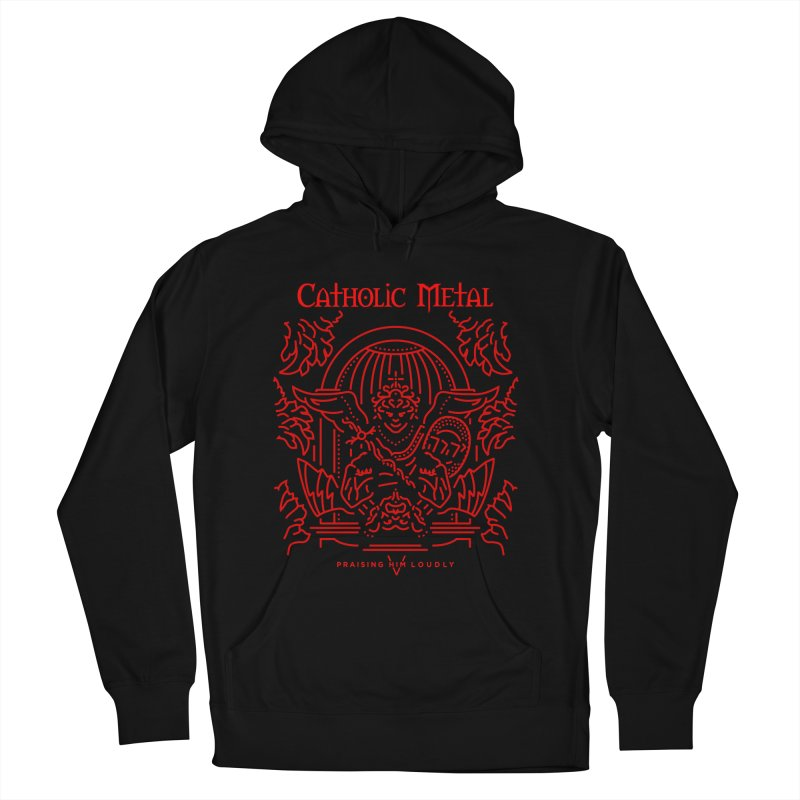 PHL 5: St Micheal Defeating Satan Line Art (Red) Women's French Terry Pullover Hoody by Catholic Metal Merch