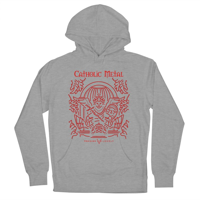 PHL 5: St Micheal Defeating Satan Line Art (Red) Men's French Terry Pullover Hoody by Catholic Metal Merch