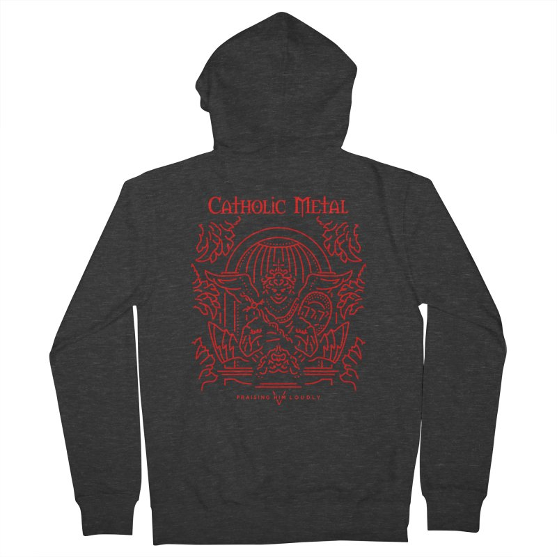 PHL 5: St Micheal Defeating Satan Line Art (Red) Men's Zip-Up Hoody by Catholic Metal Merch