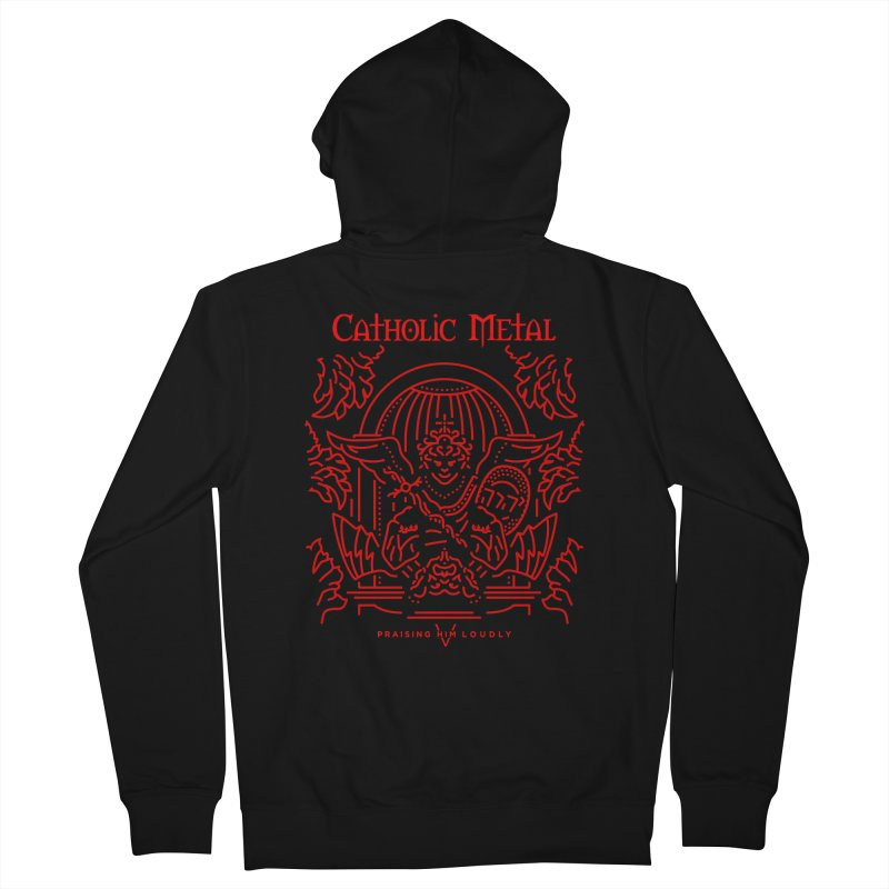 PHL 5: St Micheal Defeating Satan Line Art (Red) Men's French Terry Zip-Up Hoody by Catholic Metal Merch