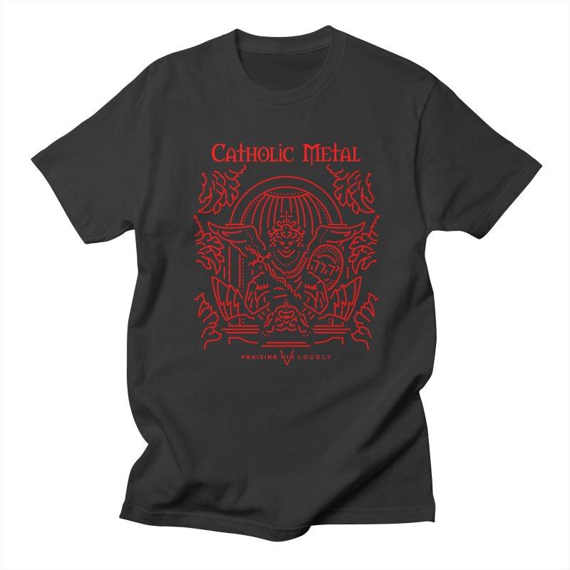 PHL 5: St Micheal Defeating Satan Line Art (Red) Men's T-shirt by Catholic Metal Merch