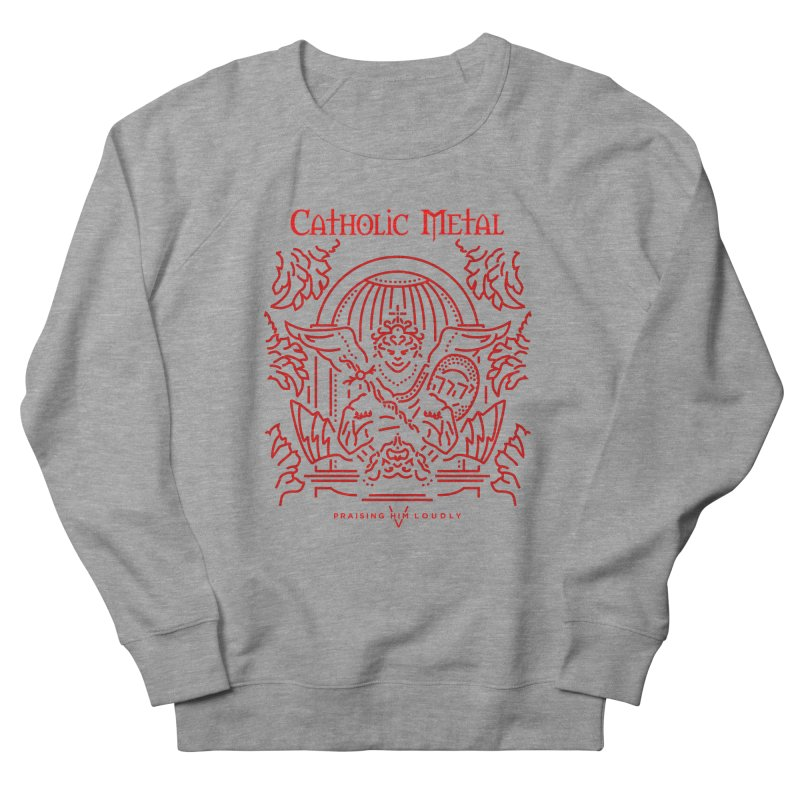 PHL 5: St Micheal Defeating Satan Line Art (Red) Men's French Terry Sweatshirt by Catholic Metal Merch
