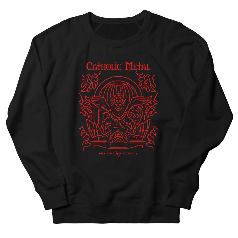 PHL 5: St Micheal Defeating Satan Line Art (Red) Men's Sweatshirt by Catholic Metal Merch