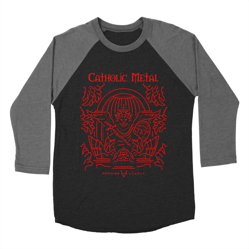 PHL 5: St Micheal Defeating Satan Line Art (Red) Men's Baseball Triblend T-Shirt by Catholic Metal Merch