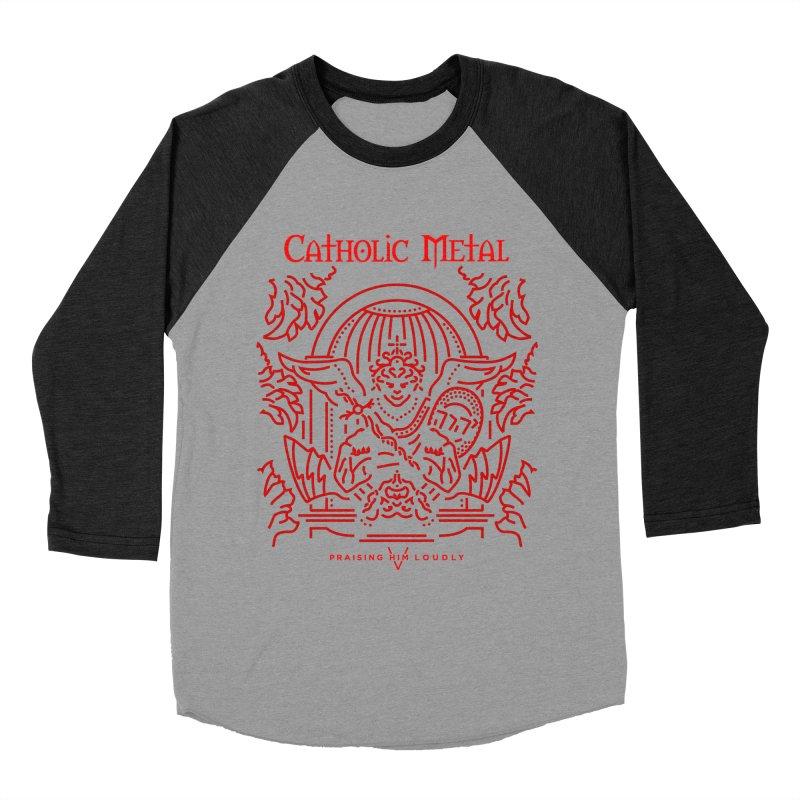 PHL 5: St Micheal Defeating Satan Line Art (Red) Men's Baseball Triblend T-Shirt by Catholic Metal Merch
