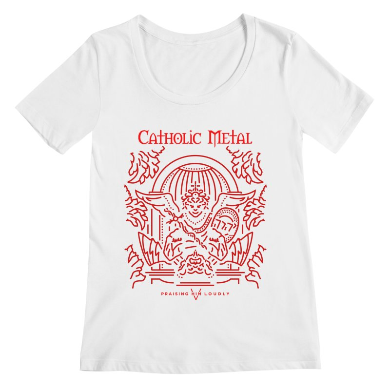 PHL 5: St Micheal Defeating Satan Line Art (Red) Women's Scoopneck by Catholic Metal Merch