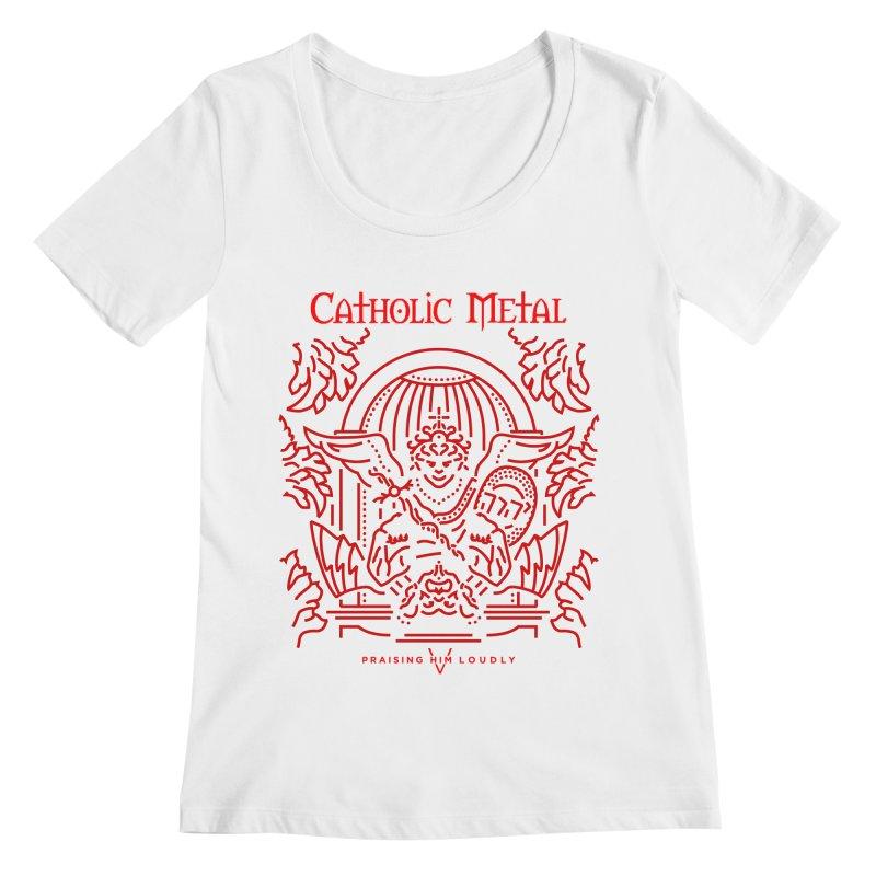 PHL 5: St Micheal Defeating Satan Line Art (Red) Women's Regular Scoop Neck by Catholic Metal Merch