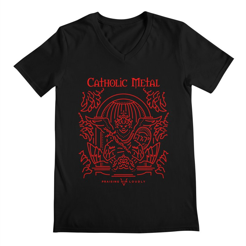 PHL 5: St Micheal Defeating Satan Line Art (Red) Men's Regular V-Neck by Catholic Metal Merch