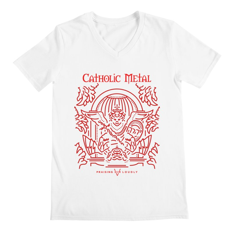 PHL 5: St Micheal Defeating Satan Line Art (Red) Men's V-Neck by Catholic Metal Merch