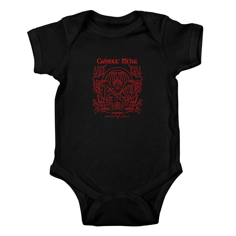 PHL 5: St Micheal Defeating Satan Line Art (Red) Kids Baby Bodysuit by Catholic Metal Merch