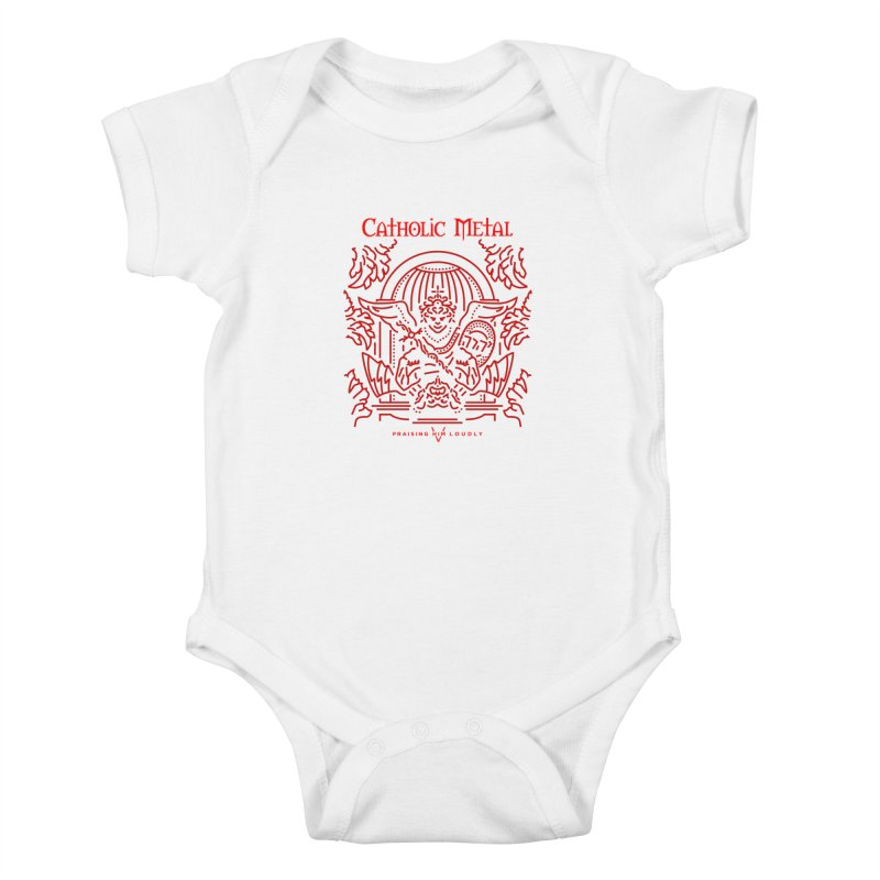 PHL 5: St Micheal Defeating Satan Line Art (Red) Kids Baby Bodysuit by Catholic Metal Merch