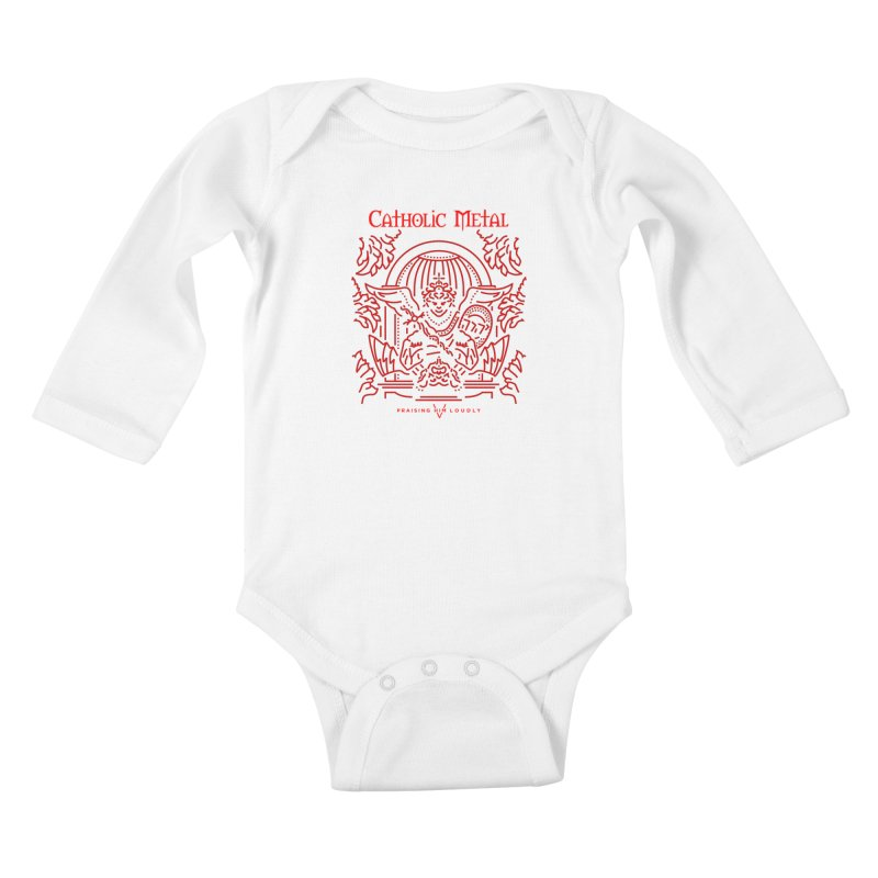 PHL 5: St Micheal Defeating Satan Line Art (Red) Kids Baby Longsleeve Bodysuit by Catholic Metal Merch