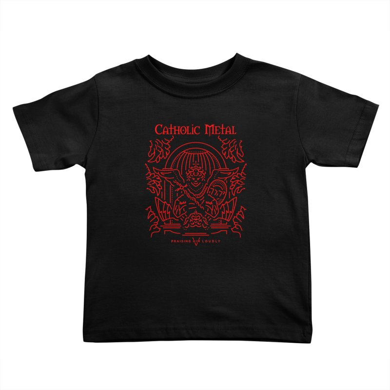 PHL 5: St Micheal Defeating Satan Line Art (Red) Kids Toddler T-Shirt by Catholic Metal Merch