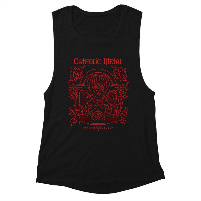 PHL 5: St Micheal Defeating Satan Line Art (Red) Women's Tank by Catholic Metal Merch