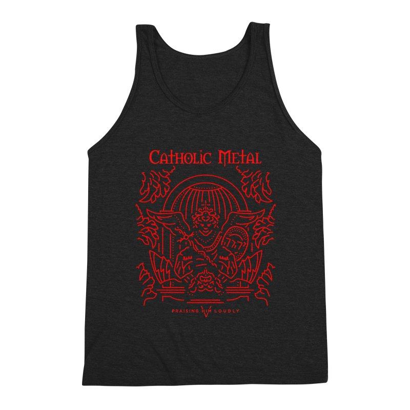 PHL 5: St Micheal Defeating Satan Line Art (Red) Men's Triblend Tank by Catholic Metal Merch