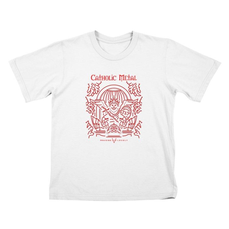 PHL 5: St Micheal Defeating Satan Line Art (Red) Kids T-Shirt by Catholic Metal Merch