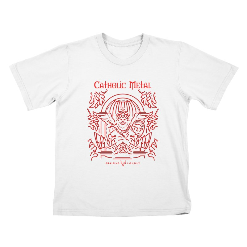 PHL 5: St Micheal Defeating Satan Line Art (Red) Kids T-Shirt by Catholic Metal Merch