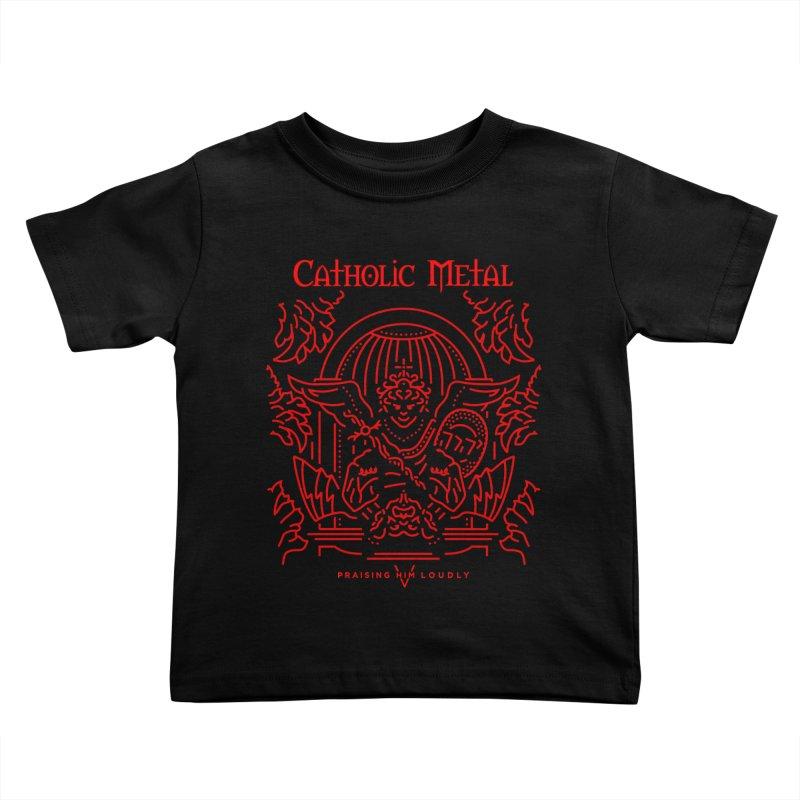 PHL 5: St Micheal Defeating Satan Line Art (Red) Kids Toddler T-Shirt by Catholic Metal Merch