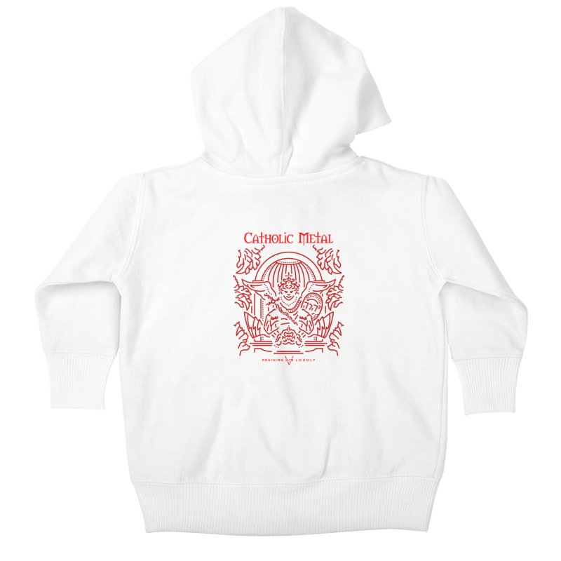 PHL 5: St Micheal Defeating Satan Line Art (Red) Kids Baby Zip-Up Hoody by Catholic Metal Merch