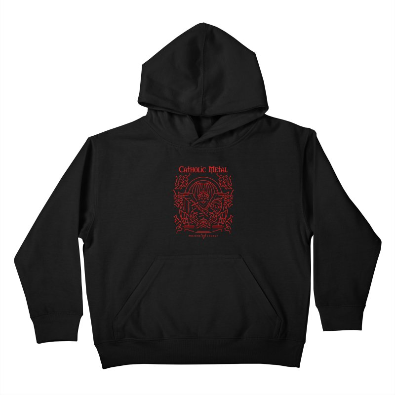 PHL 5: St Micheal Defeating Satan Line Art (Red) Kids Pullover Hoody by Catholic Metal Merch