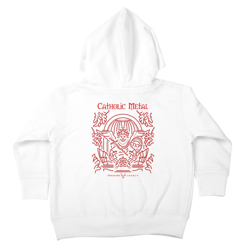 PHL 5: St Micheal Defeating Satan Line Art (Red) Kids Toddler Zip-Up Hoody by Catholic Metal Merch