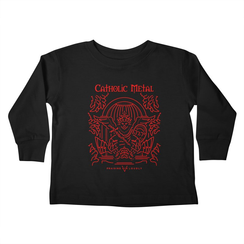 PHL 5: St Micheal Defeating Satan Line Art (Red) Kids Toddler Longsleeve T-Shirt by Catholic Metal Merch