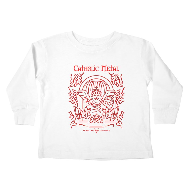 PHL 5: St Micheal Defeating Satan Line Art (Red)   by Catholic Metal Merch